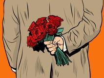 Sorpresa del regalo de las rosas del ramo de la flor stock de ilustración
