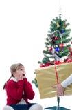 Sorpresa grande de la Navidad Imagen de archivo libre de regalías