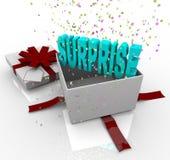 Sorpresa presente - rectángulo de regalo del feliz cumpleaños Fotografía de archivo libre de regalías