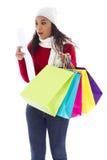 Sorpresa que hace compras Foto de archivo libre de regalías