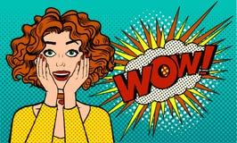Sorpresa sincera del ` s de las mujeres Una muchacha con una boca abierta dice el wow Estilo retro de los tebeos Arte pop Ilustra Foto de archivo libre de regalías