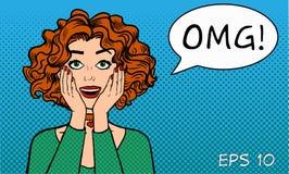 Sorpresa sincera del ` s delle donne Una ragazza con una bocca aperta dice OMG! Retro stile dei fumetti Pop art Illustrazione Fotografie Stock Libere da Diritti