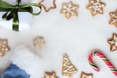 Sorpresas de la Navidad de Papá Noel Imágenes de archivo libres de regalías