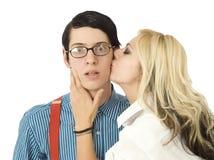Sorpreso tramite il bacio del Valentine Fotografia Stock Libera da Diritti