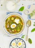 Sorrel  egg and sour cream soup . Sorrel  egg and sour cream soup in a plate on a table Royalty Free Stock Image