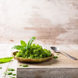 Sorrel granita in metal spoon. Sorrel granita on wooden plate on old background. Healthy summer food concept with copy space Royalty Free Stock Photos