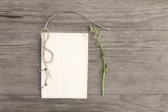 Sorrel with handmade craft notebook on old grunge wooden background. Top view. Minimalistic mockup. Sorrel with handmade craft notebook on old grunge wooden royalty free stock photo
