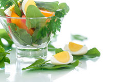 Sorrel salad and tomatoes with egg. Sorrel salad with eggs and tomatoes and herbs Stock Photos