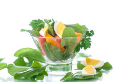 Sorrel salad and tomatoes with egg Royalty Free Stock Image