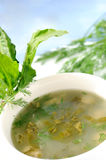 Sorrel soup. A white ceramic bowl of a just cooked sorrel soup and sorrel leaves stock photo