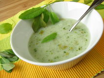Sorrel soup. With fresh sorrel leaves Stock Photo