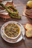 Sorrel soup, Braided dried sorrel leaves . Sorrel soup. Braided dried sorrel leaves , Armenia Stock Photography