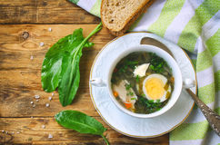 Sorrel soup with chicken meat. In a white bowl, salt, towel, boiled egg, leaves on a wooden table, top view Stock Photo