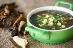 Sorrel soup with dried mushrooms. In a bowl Stock Photography