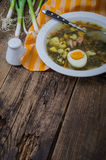 Sorrel soup with egg and empty place for notes. Sorrel soup with half of boiled egg in white plate and empty place for notes Royalty Free Stock Image