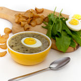 Sorrel soup. With egg and greens. Selective focus Stock Photo