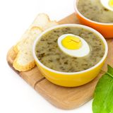 Sorrel soup. With egg and greens. Selective focus Royalty Free Stock Photo