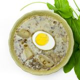 Sorrel soup. With egg and greens. Selective focus Stock Photos
