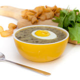 Sorrel soup. With egg and greens. Selective focus Royalty Free Stock Photography