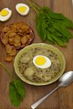 Sorrel soup. With egg and greens. Selective focus Royalty Free Stock Photos