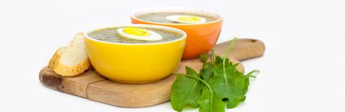 Sorrel soup. With egg and greens. Selective focus. Panoramic image Royalty Free Stock Photography
