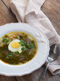 Sorrel soup. With egg served in plate Royalty Free Stock Photography