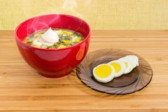 Sorrel soup with egg and sour cream in red bowl. Hot sorrel soup also known as green borscht with chopped egg and sour cream in red bowl and sliced boiled egg Royalty Free Stock Images