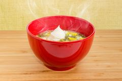 Sorrel soup with egg and sour cream in red bowl. Hot sorrel soup also known as green borscht with chopped egg and sour cream in red bowl on a wooden table royalty free stock photography