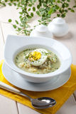 Sorrel soup with egg in white bowl. Homemade sorrel soup with egg and rice in a bowl Stock Photo