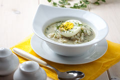 Sorrel soup with egg in white bowl. Royalty Free Stock Photos