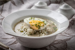 Sorrel soup with egg in white bowl. Homemade sorrel soup with egg and rice in a bowl Stock Image