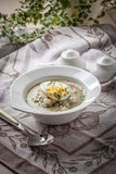 Sorrel soup with egg in white bowl. Homemade sorrel soup with egg and rice in a bowl Stock Photos