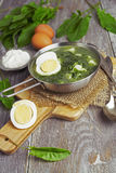 Sorrel soup with egg. On wooden table Stock Images