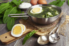 Sorrel soup with egg. On wooden table Royalty Free Stock Images