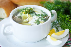 Sorrel soup. Soup with sorrel and eggs in a bowl on the table Stock Photography