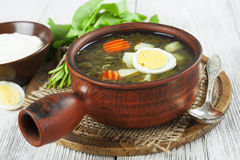 Sorrel soup with eggs Royalty Free Stock Photography
