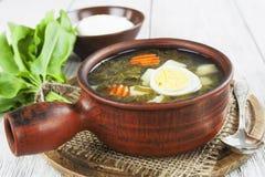 Sorrel soup with eggs Stock Photos