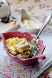 Sorrel soup. With eggs and sour cream Royalty Free Stock Image