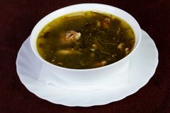 Sorrel soup with meat. And herbs royalty free stock photos