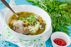 Sorrel soup with meat, potatoes, egg and greens. In bowl Stock Photography