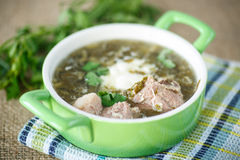 Sorrel soup. With meat and sour cream in a dish Royalty Free Stock Photo