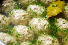 Sorrel soup with meatballs . Royalty Free Stock Images