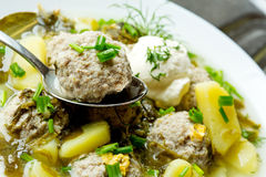 Sorrel soup with meatballs . Sorrel soup with meatballs and eggs in a bowl Royalty Free Stock Photography