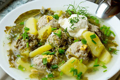Sorrel soup with meatballs . Sorrel soup with meatballs and eggs in a bowl Stock Photography