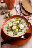 Sorrel soup with quail eggs. Sorrel soup with boiled quail eggs on a rustic table Royalty Free Stock Photography