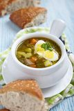 Sorrel soup with quail eggs Royalty Free Stock Images