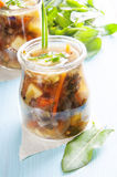 Sorrel soup in small bottles Royalty Free Stock Photography