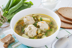 Sorrel soup in white bowl Stock Images
