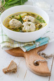 Sorrel soup in white bowl Stock Photography