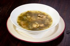 Sorrel summer soup. With meat Stock Images
